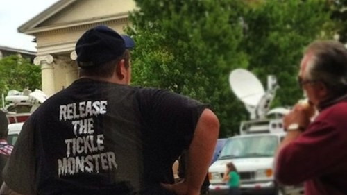 release the tickle monste,release the tickle monster,sandusky trial pic