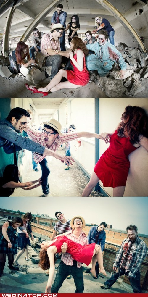 engagement,funny wedding photos,geek,zombie