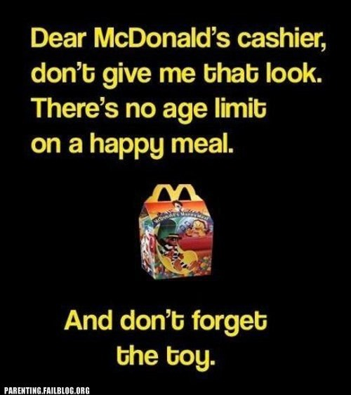 age limit cashier happy meal McDonald's toy