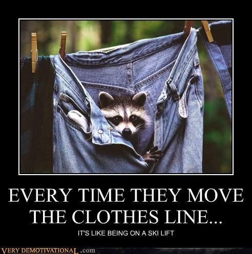 hilarious jeans pants racoon ski lift - 6360142848