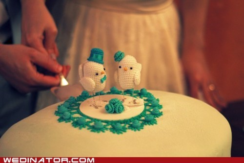 birds,cake toppers,crochet,funny wedding photos
