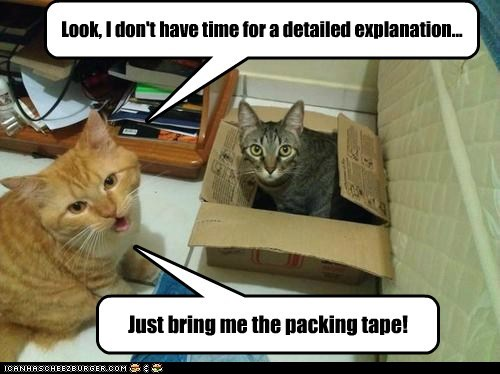 Look, I don't have time for a detailed explanation... Just bring me the packing tape!