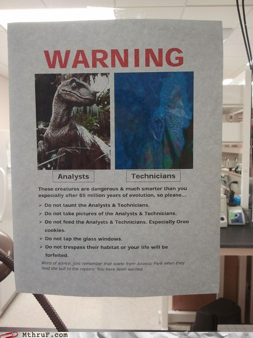 analysts,dilophosaurus,g rated,jurassic park,monday thru friday,technicians,velociraptor