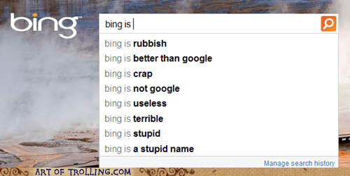bing google search engine suggestions terrible