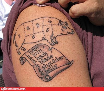 cut instructions pig shoulder tattoo