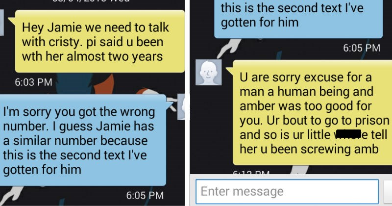 angrily texting the wrong number