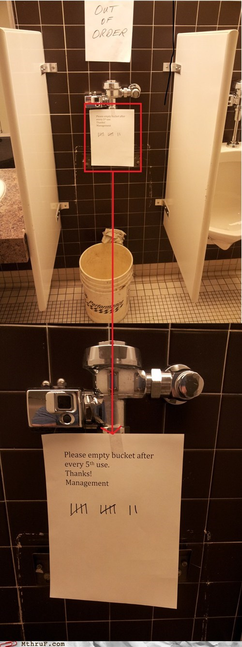 bathroom bucket out of order plumber there I fixed it urinal - 6361887744