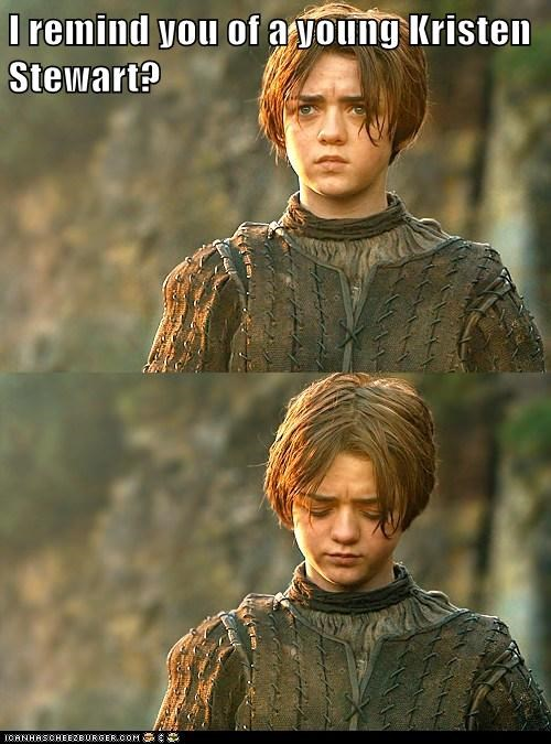 arya stark,Game of Thrones,insult,kristen stewart,low,Maisie Williams,rimind,Sad
