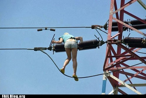climbing telephone wires tower