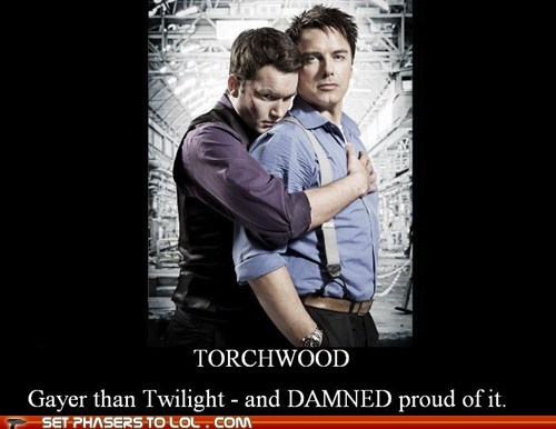 Captain Jack Harkness,gareth david-lloyd,gayer than twilight,ianto jones,john barrowman,proud,Torchwood