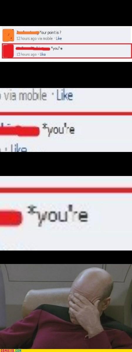 faecbook grammar nazi fail picard facepalm your point - 6365020160