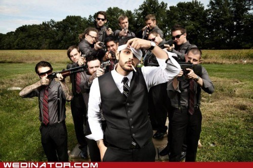 funny wedding photos grom Groomsmen guns shotgun