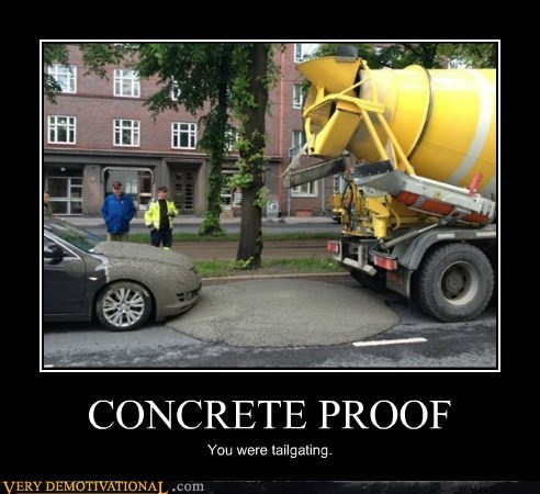 concrete idiots parking proof tailgating
