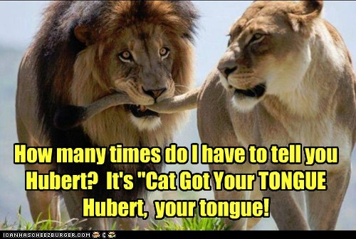 "How many times do I have to tell you Hubert? It's ""Cat Got Your TONGUE Hubert, your tongue!"