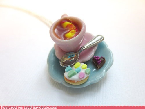 cookies,Jewelry,miniature,necklace,pendant,tea