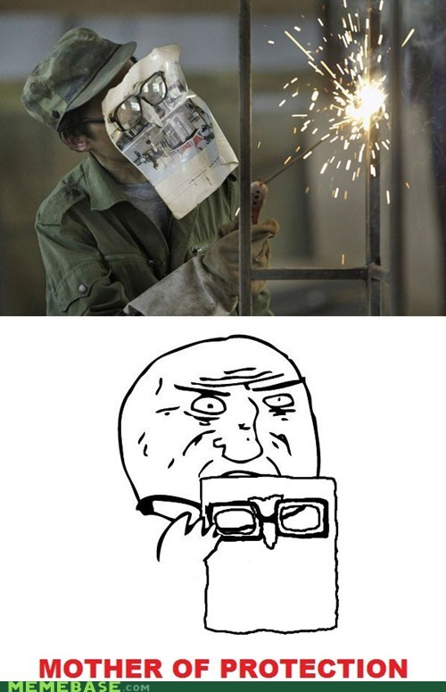 glasses,magazine,mother of god,paper,protection,Rage Comics,welding