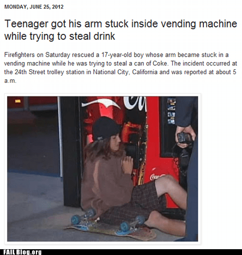 Probably bad News stuck vending machine