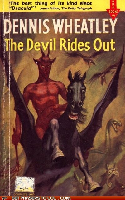 book covers,books,confused,cover art,devil,expressions,faces,horse,science fiction,wtf