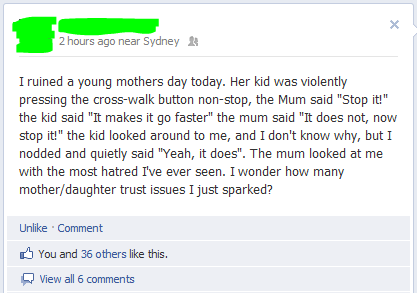 cross walk,facebook,press the button,young mother