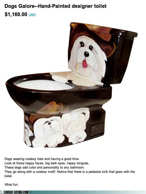 cowboy hats dogs Painted toilet