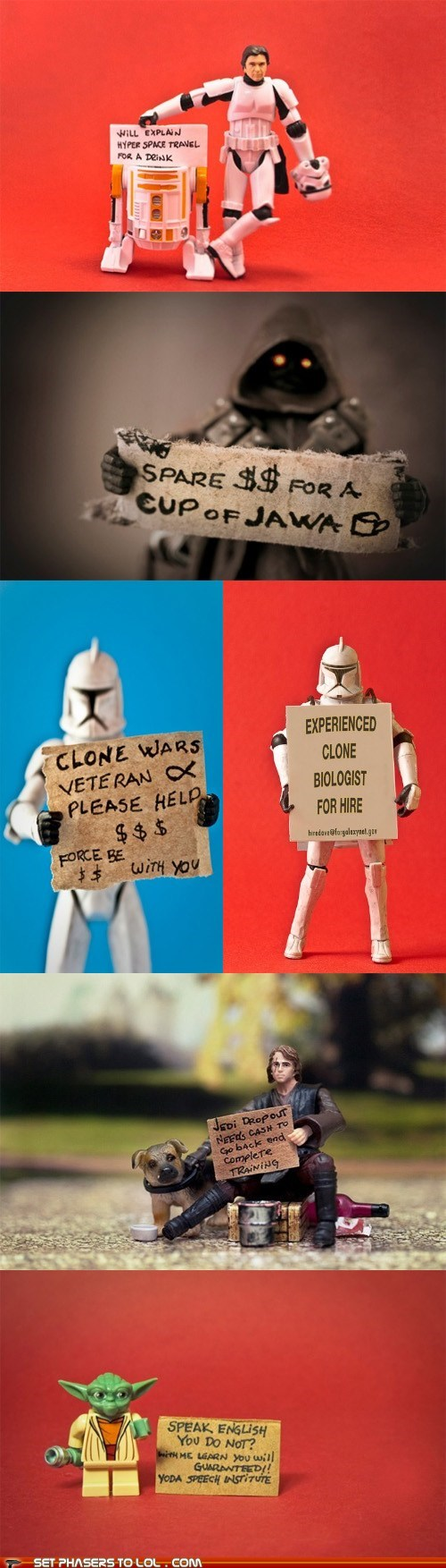 anakin skywalker,best of the week,Han Solo,homeless,money,panhandling,signs,star wars,stormtrooper,work,yoda