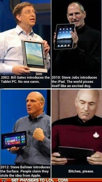 apple,bch-please,best of the week,Bill Gates,Captain Picard,ipad,no one cares,patrick stewart,PC,Star Trek,steve jobs,tablet