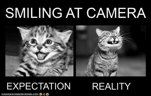 Awkward,cameras,expectations,expectations vs reality,photography,reality,smiles,smiling