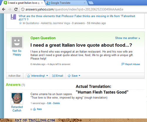 cannibalism food italian language Yahoo Answer Fai Yahoo Answer Fails - 6370756608