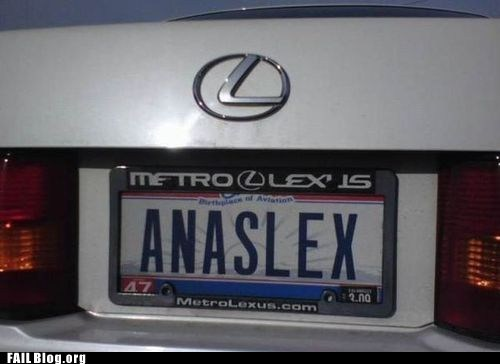 anaslex,fail nation,lexus,license plate