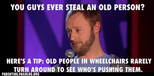 old people,stand up co,stealing