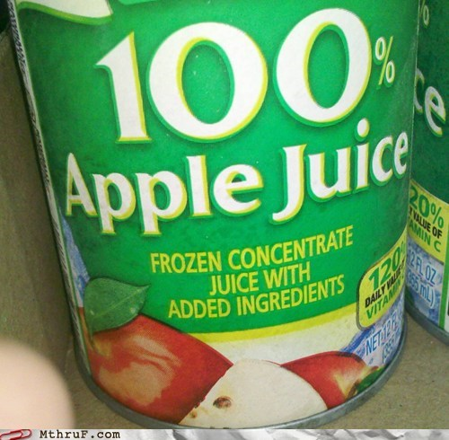 100 percent added ingredients apple juice
