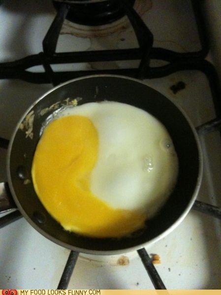 breakfast eggs pan white yin yang yolk