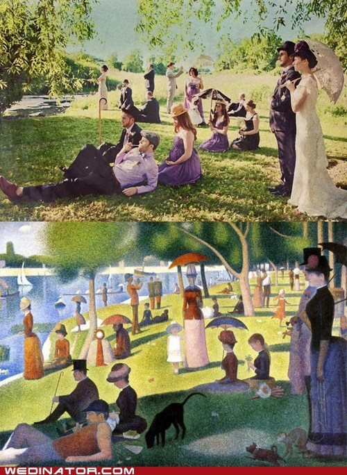 art,funny wedding photos,gerges seurat,victorian,wedding party