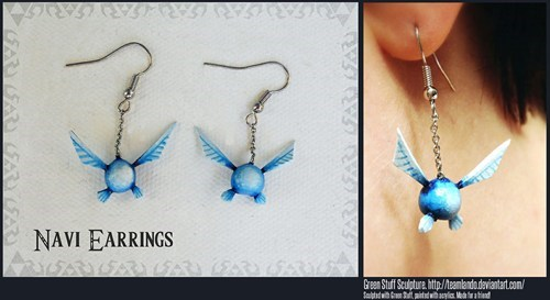 accessories,earrings,Fan Art,legend of zelda,navi,video games