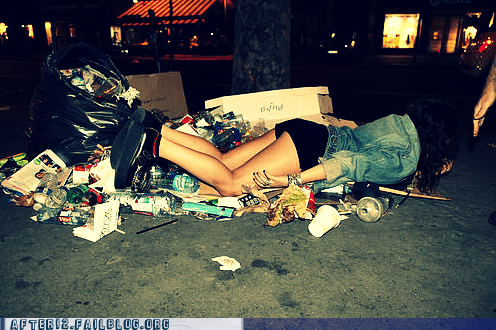 asleep,dumpster,garbage,passed out,trash