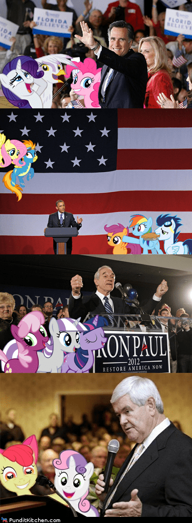 barack obama,Bronies,Mitt Romney,my little pony,newt gingrich,political pictures