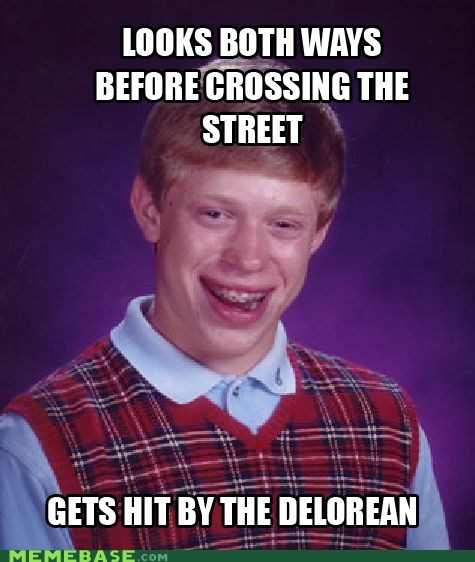 back to the future,bad luck brian,chicken,cross the road,DeLorean,Memes