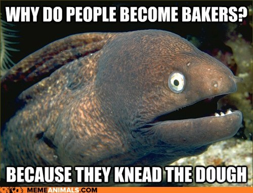 Bad Joke Eel bakers dough eels jokes kneading puns