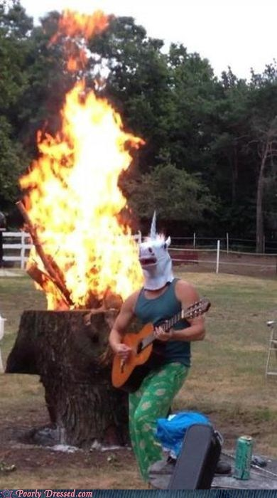 bonfire,horse head,horse mask,metal,unicorn