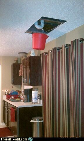 bucket ceiling Drip leak leaking pipe