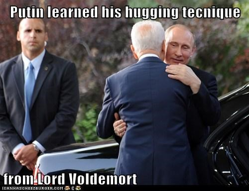Putin learned his hugging tecnique from Lord Voldemort