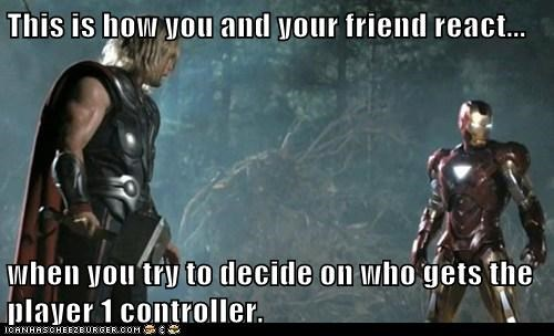 animosity,argue,avengers,chris hemsworth,controller,fight,friend,iron man,player 1,react,video games