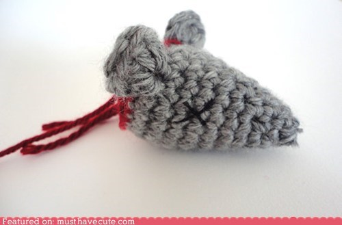 cat,catnip,Crocheted,gruesome,head,mouse,toy