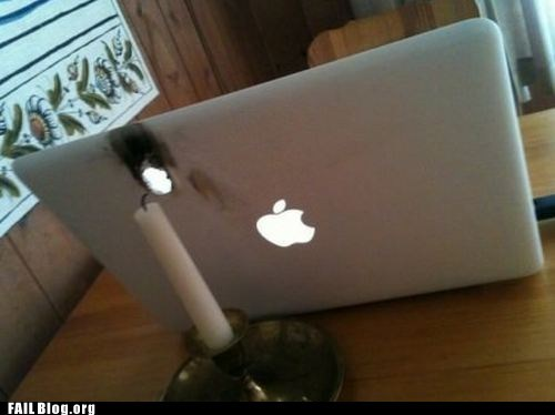 burn candle laptop mac