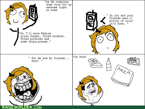 delivery food forever alone noms Rage Comics take out - 6375342592