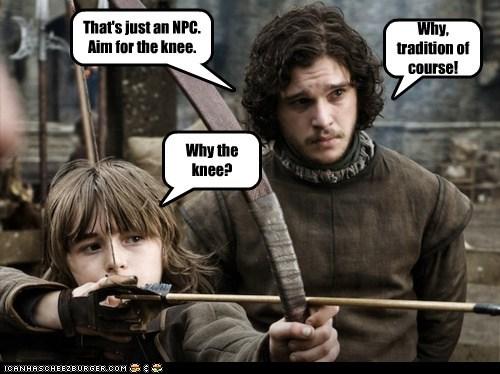 archery arrow in the knee bow bran stark Game of Thrones Isaac Hempstead Wright Jon Snow kit harrington npc tradition - 6375470592