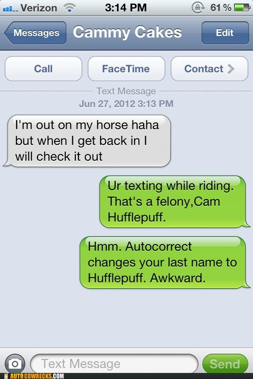 autocorrected Harry Potter hufflepuff texting while riding