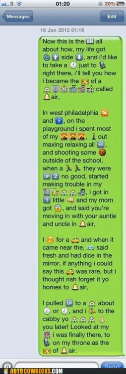AutocoWrecks,emoticons,Fresh Prince of Bel-Air,g rated,iPhones,Songs