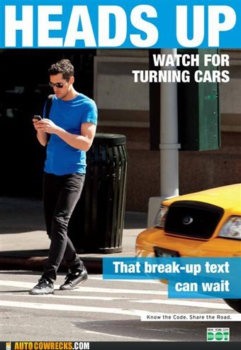 break up text cars heads up texting and walking - 6375510784