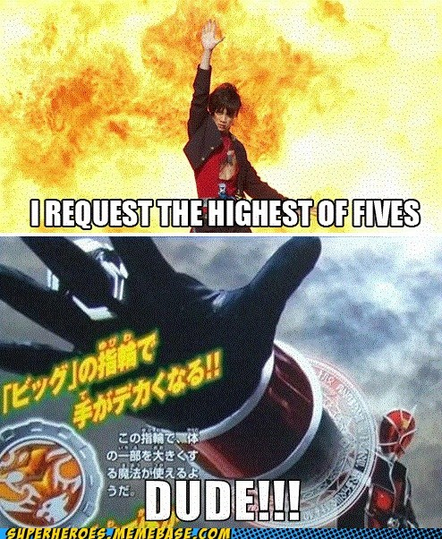 hands,high five,kamen rider,Super-Lols